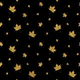 Gold leaf maple seamless pattern. Golden shiny autumn leaves seamless background, hand painted vector for wallpaper, fabric, paper, wrapping, web, textile Royalty Free Stock Image