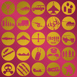 Gold leaf military icons Stock Image