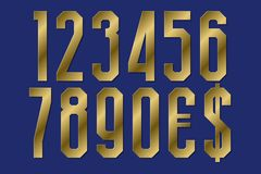 Gold leaf numbers with currency signs of dollar and euro.  stock illustration