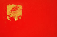 Gold leaf on the Red Bacground. Gold leaf on the Red color Bacground Stock Photography