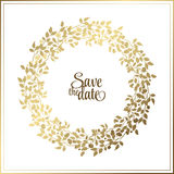 Gold Leaf Rope Frame On A Black Background With A Place For Your Text. Circle Natural Wreath For Invitation Cards Royalty Free Stock Photography