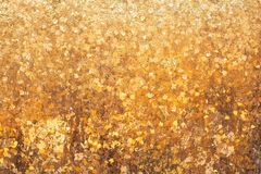 Gold leaf on the wall background.  stock photography