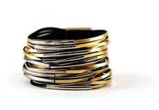 Gold leather bracelet Royalty Free Stock Images
