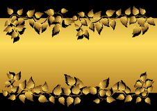 Gold leaves and banner. vector illustration. Stock Image