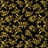 Gold leaves on black. A black background with golden leaves vector illustration
