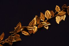 Gold leaves on chain Stock Images