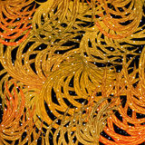 Gold leaves, feathers, on a black background, design elements. Vector illustration Royalty Free Stock Photography