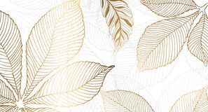 Free Gold Leaves For The Walls. Background With Golden Leaves Of Chestnut On A White Background. Vector Graphics. Royalty Free Stock Images - 217834029