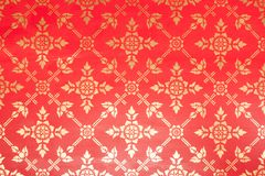 Gold left gilded flora ornament pattern. On red background royalty free illustration