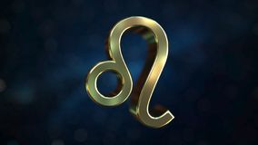 Gold Leo Zodiac sign, 3D rendering. Gold Zodiac sign, part of the set. 3D royalty free illustration