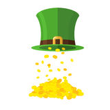 Gold and leprechaun Hat Topper. Gold coins poured from caps. Gol. D Mountain, wealth. Illustration of the feast of St. Patrick in Ireland Stock Photos
