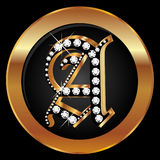 Gold letter A with diamonds Royalty Free Stock Images