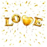 Gold letter love balloons. Heart gold characters balloons in the air. For celebration, party, date, invitation, event, card and Va. Lentine`s Day. I love you Stock Photos