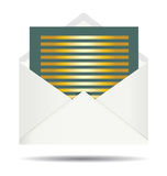 Gold Letter and Opened White Envelope. A Gold Green Letter and Opened White Envelope Royalty Free Stock Photography