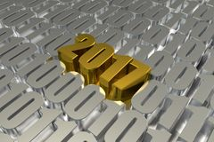 Gold 2017 Letter Popping up in Digital Numbers. New Year Typogra Royalty Free Stock Image