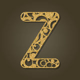 Gold letter Z for laser cutting. English alphabet. Royalty Free Stock Image