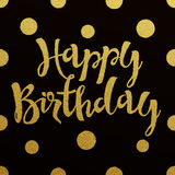 Gold lettering design for card Happy Birthday Royalty Free Stock Photo