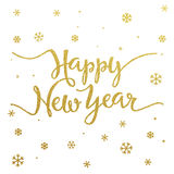 Gold lettering design for card Happy New Year Royalty Free Stock Photos