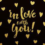 Gold lettering design for card In Love With You Royalty Free Stock Photography