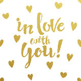 Gold lettering design for card In Love With You Stock Photography