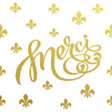 Gold lettering design for card Merci Royalty Free Stock Images