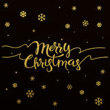 Gold lettering design for card Merry Christmas Royalty Free Stock Image