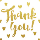 Gold lettering design for card Thank You Stock Photography