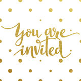 Gold lettering design for card You Are Invited Royalty Free Stock Photography