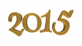Gold 2015 lettering isolated Stock Photography