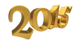 Gold 2015 lettering isolated Royalty Free Stock Image
