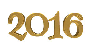 Gold 2016 lettering isolated. New 2016 Year 3d text on white background Stock Photography