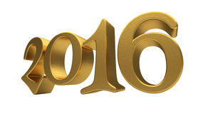 Gold 2016 lettering isolated Stock Images