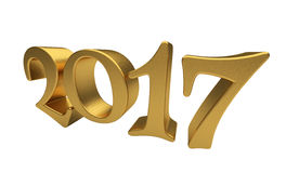 Gold 2017 lettering isolated. New 2017 Year 3d text on white background Royalty Free Stock Photos