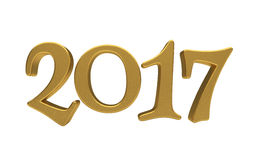 Gold 2017 lettering isolated. New 2017 Year 3d text on white background Royalty Free Stock Photo