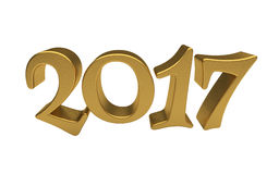 Gold 2017 lettering isolated Stock Image
