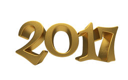 Gold 2017 lettering isolated. New 2017 Year 3d text on white background Royalty Free Stock Photography
