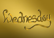 Wednesday written in gold. Gold lettering written Wednesday for headers and backgrounds or any needed text Royalty Free Stock Image