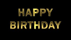 Gold letters collecting from particles - Happy Birthday