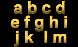 Gold Letters a - m. Gold Alphabet Letters Lowercase a - m On Black Stock Images