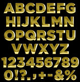 Gold letters and numbers alphabet Royalty Free Stock Photo