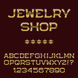 Gold letters and numbers. Deluxe presentable font. Stock Photos
