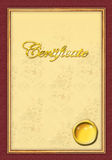 Gold level certificate template. Easy to use on graduation or senior level Stock Photo