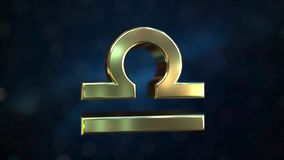 Gold Libra Zodiac sign, 3D rendering. Gold Zodiac sign, part of the set. 3D royalty free illustration