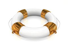 Gold life buoy Royalty Free Stock Images