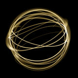 Gold light circle strings speed motion in sphere on black background. Golden neon light glitter sparkle swirl tail trace effect Stock Photos