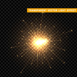 Gold light effect. The effect of gold sparkler. Bright Star with transparency. Glowing glitter. Isolated Christmas decoration. Magic lighting object Stock Photo