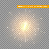 Gold light effect. The effect of gold sparkler. Bright Star with transparency. Glowing glitter. Isolated Christmas decoration. Magic lighting object Stock Image