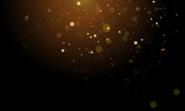 Gold light glitter sparkling effect on vector shining background Royalty Free Stock Image