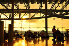 Gold lighting sunset at the airport Stock Photos