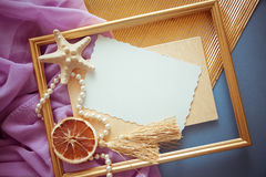 Gold & lilac vintage background Stock Images